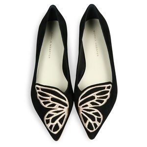 Sophia Webster Bibi Butterfly Black Suede Flats